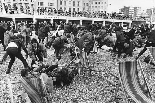 Mods vs Rockers fight Brighton Beach, England, 1964