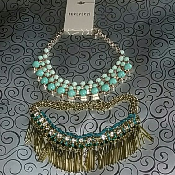Mint statement necklace BUNDLE! Great statement pieces. Dark mint to light mint. Boho style tribal teal and gold necklace. Forever 21 Jewelry Necklaces