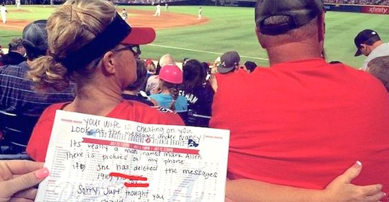Two Sisters Notice Woman In Front Of Them Texting Another Man — Then Tell Her Husband In A Note -     I  n July 2015, two sisters, Delana and Brynn, attended an Atlanta Braves game at Turner Field. They were seated directly behind a married couple ...