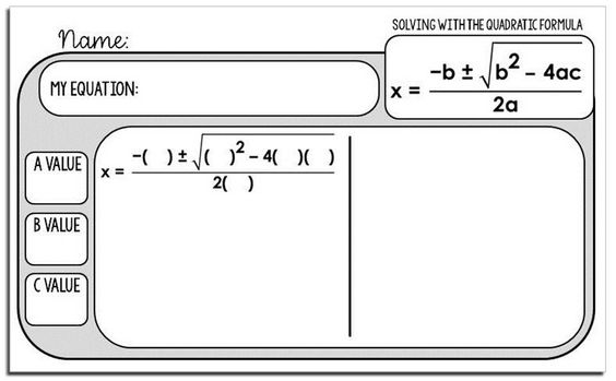 Free Quadratic Formula Warm Up Template Quadratics Quadratic Formula Algebra Classroom Quadratic equations worksheets with