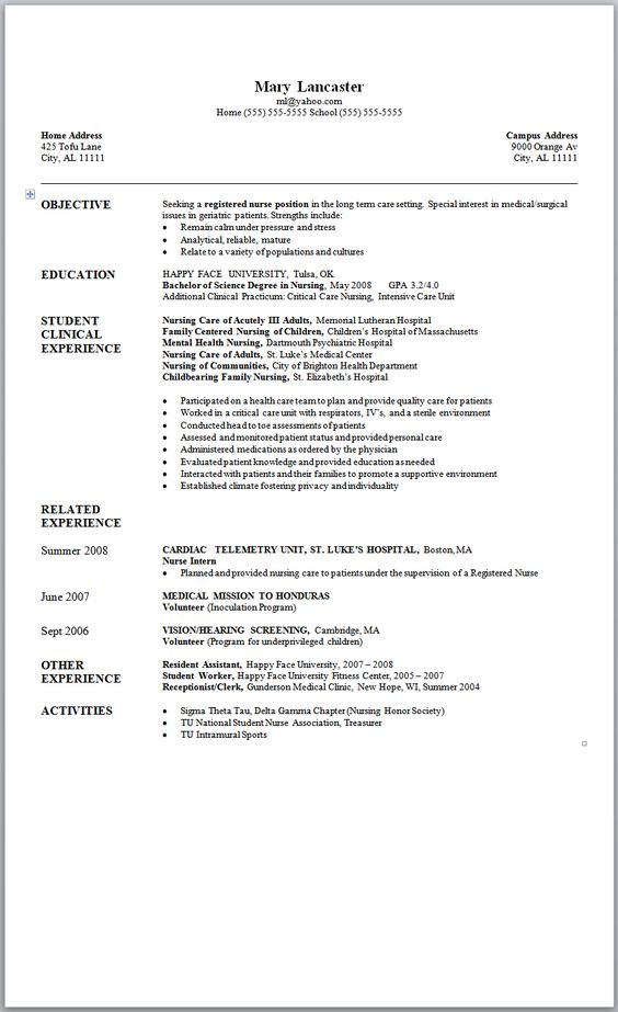 Mary Jane Resume Resume Examples  Nursing Resume Examples New Grad