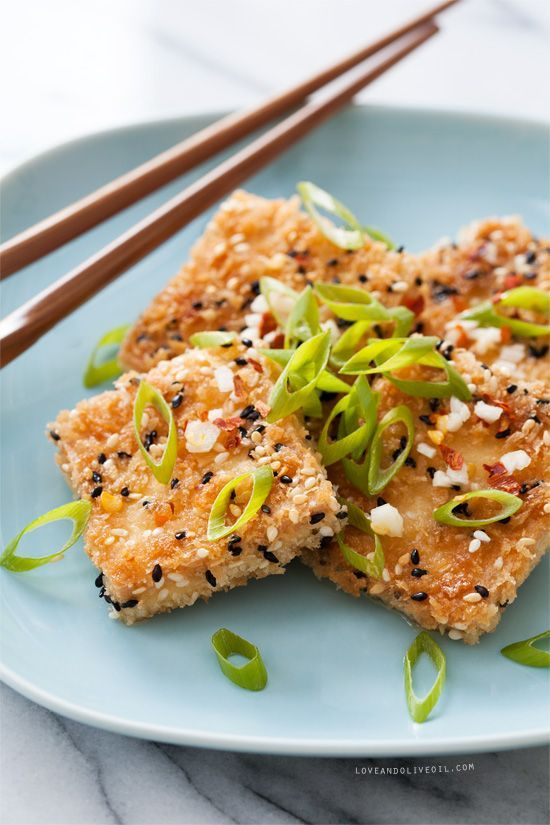 Sesame crusted tofu sauces eggs and bread crumbs for Vegan fish sauce substitute