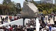 What do museum-goers think of LACMA's 'Levitated Mass' sculpture?