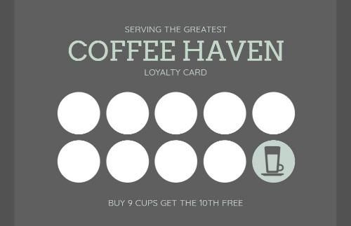A Plain Coffee Loyalty Cards Template With A Grey Background And White Words Loyalty Card Template Loyalty Card Coffee Cards