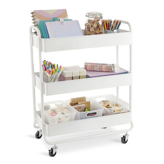 Hudson Rolling Cart By Recollections In 2020 Rolling Cart Craft Cart Kids Desk Organization