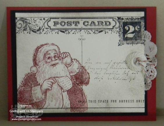 The best Stampin' Up! Santa's List handmade Christmas card