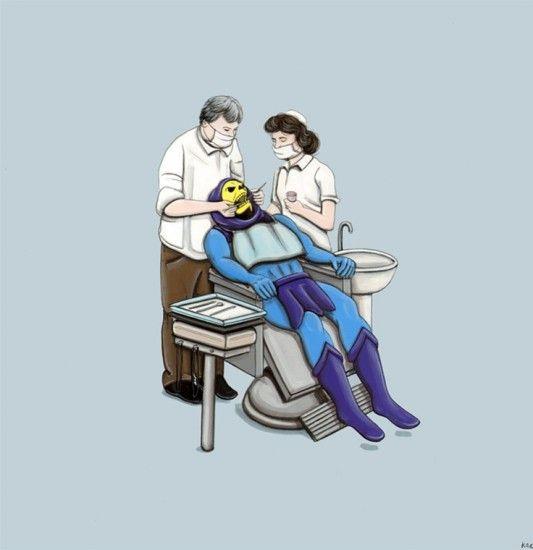 Skeletor en el dentista, una de las ilustraciones de Kiersten Essenpreis que muestran a villanos en situaciones cotidianas