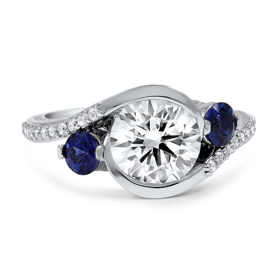Adorned Cascade Three Stone Ring, top view