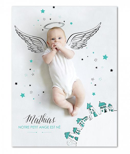 Poster photo de votre bébé avec des éléments dessinés à la main que vous pouvez adapter à votre visuel│ Planet-Cards.com