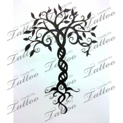 Whimsical Tree of Life | Tree of Life #13103 | CreateMyTattoo.com...love the DNA trunk: