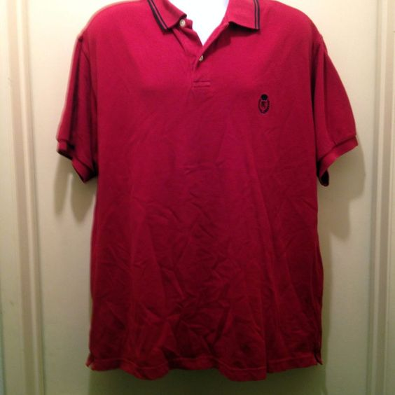 Chaps Ralph Lauren Polo Shirt Size XL Red Embroidered Logo Collar Stripes Cotton #Chaps #PoloRugby