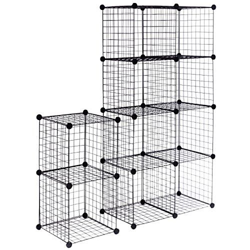 Myeasyshopping Black Iron Wire Diy 12 Cube Grid Wire Storage Cube Organizer Cubes Diy Bookcase Cabinet Shelves Shelf Diy Cube Storage Cube Shelves Diy 12