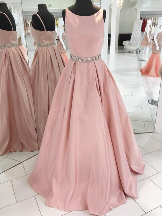 Blush Pink Sleeveless Satin Floor Length Prom Dress Bridesmaid Dress With Beaded Waistline Spring Prom Dresses Blush Pink Prom Dresses Prom Dresses Sleeveless