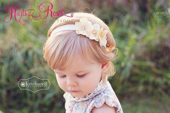 Cream Headband. Baby Girl Headbands.Baby Headbands.Flower Girl Headband.Christening Headband.Infant. Newborn.Baby Bow.Baby Girl.Baptism.Bow
