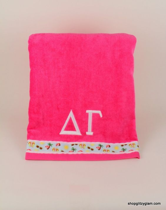 """Show off your creativity at the beachor pool with our Create your ownSorority Velour Beach Towel! You choose from our many ribbons and thread colors and create your own towel with your sorority'sgreek letters!  Please make your selections from the dropdown menus below. Towels are 30""""x60"""", made of 100% cotton. $26.00"""