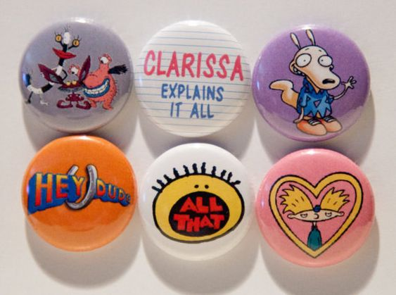 Juego de chapas redondas de Nickelodeon de los 90, por $4,50