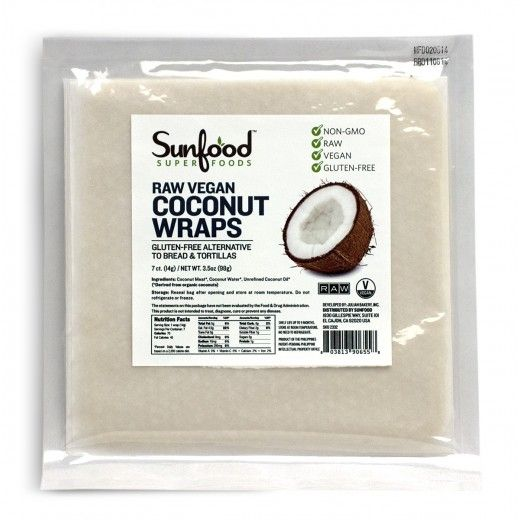Sunfood Coconut WrapsDerived from organic coconuts, these raw coconut wraps are a healthy and mouthwatering way to make a variety of dishes such as burritos, wraps and sushi.