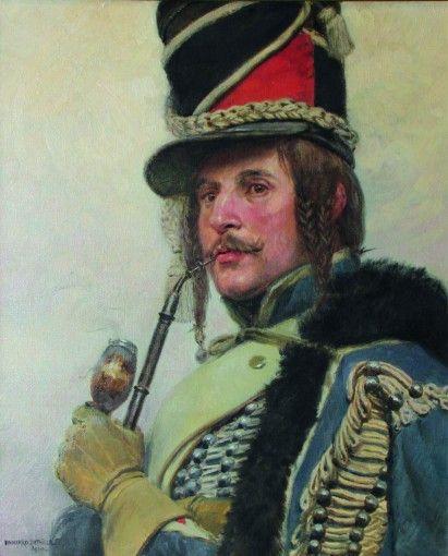 tarbes - Hussard fumant la pipe