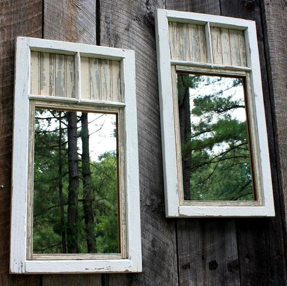 Take old windows and put a big piece of mirror in them and hang them on your fence to make your yard look bigger! Or use them inside your home. *The Brambleberry Cottage*: Shades of White #upcycle #recycle #reuse #repurpose