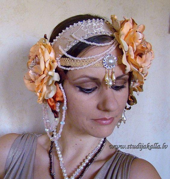 salmon beige tribalesque headdress tribal fusion headgear tribal belly dance headpiece vintage style flower tribal - Yamini Kumar Cohen Photo Mariage