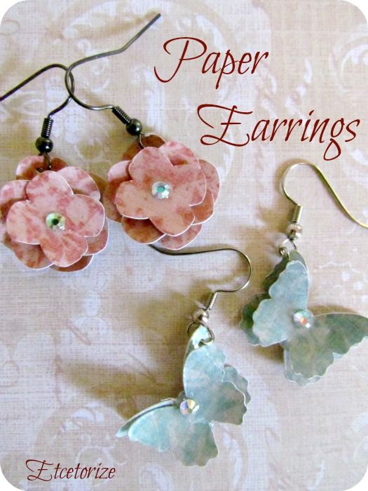 Using scrapbook paper with dimensional Mod Podge to make pretty earrings~    Etcetorize