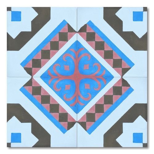 """Moroccan Mosaic Bouman 8"""" x 8"""" Handmade Cement Tile in Multi-Color"""