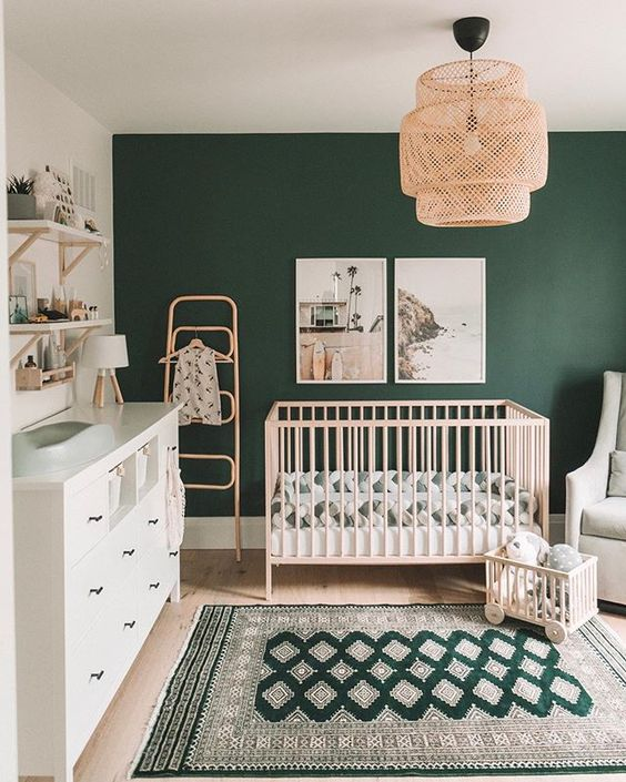Are you GREEN with envy over this adorable space? We've been seeing so much green in the nursery and we definitely don't hate it!