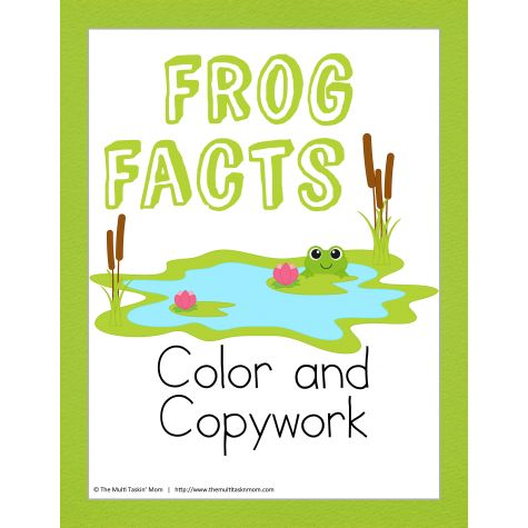 FREE Frog Facts Color and Copywork: This Frog Facts Color and Copywork is full of fun facts about frogs your children can copy and then color. It is great for children just starting out with writing or those who are a bit more advanced who are also eager to learn about frogs! A quick and easy pack to teach your young children about the life cycle of a frog.