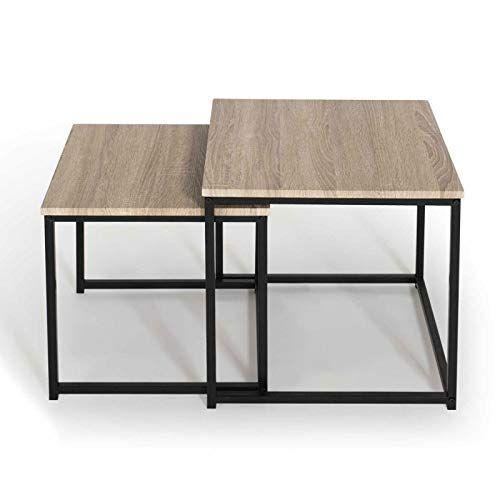 Idmarket Lot De 2 Tables Basses Gigognes Detroit Design Industriel En 2020 Table Basse Salon Table Basse Gigogne Table Basse