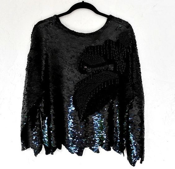 Vintage Silk Sequin Evening Blouse/80's Heavily by luvofvintage, $42.00