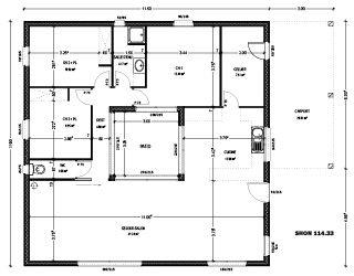 plan maison avec patio central et terrasse sur le toit - Constructeur Maison Contemporaine Toit Plat Avec Pasio