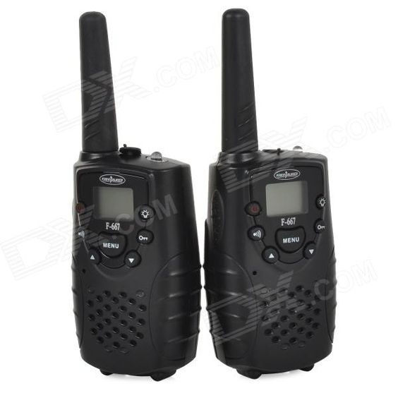 """F-667 462.5625-462.725MHz 2W / 0.5W 1.0"""" LCD 8-CH Walkie Talkie Set - Black "". Standby time: 120h; Powered by 3 x AA batteries (not included); With four different calling sound for choice; Can auto scan 8 channel and choose one effective channel; With external lighting; Suitable for couples, caring for old people, teaching, talking in different buildings and securing, etc.. Tags: #Electrical #Tools #Walkie #Talkies"