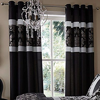 Catherine Lansfield Home Glamour Jacquard Faux Silk Eyelet Lined ...