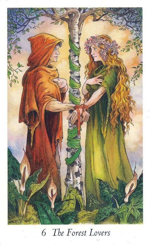 VI.  The Lovers (The Forest Lovers) -  Wildwood Tarot by John Matthews,  Mark… awakenpastlives.com