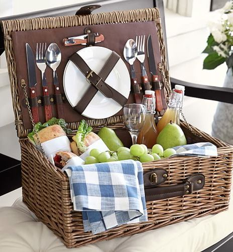 rattan picnic basket for two
