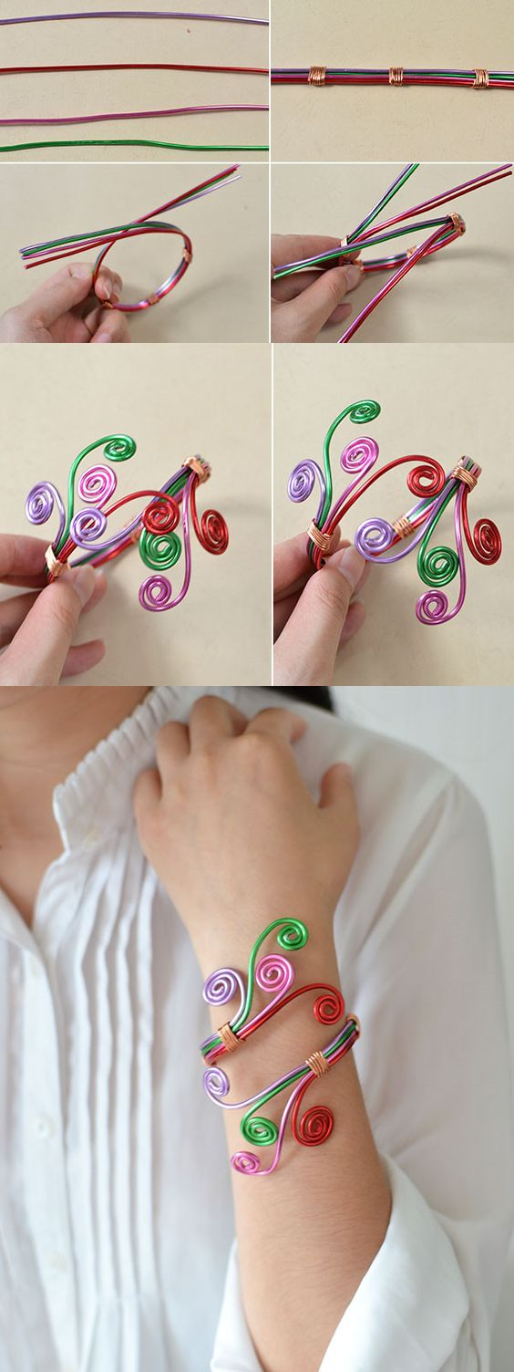 Tutorial for colorful wire bracelet made by LC.Pandahall.com: