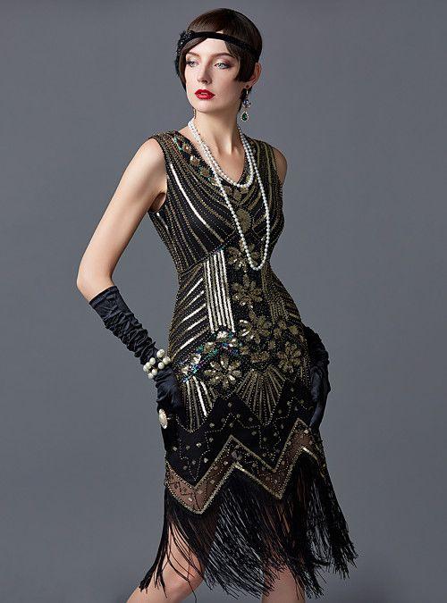 Gatsby 1920s Flapper Dress Sequin Bead Fringe 20s Charleston Women/'s Party Dress