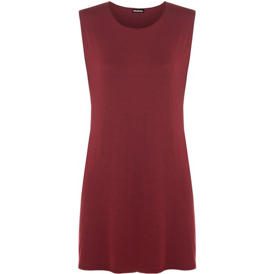 Jenessa Sleeveless Side Slit Top ($14) ❤ liked on Polyvore featuring tops, wine, round neck top, red sleeveless top, red vest, wine tops and sleeveless tops