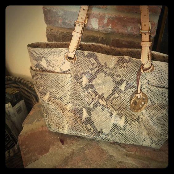 Very used MIchael Kors snakeskin purse MK purse Michael Kors Bags Shoulder Bags