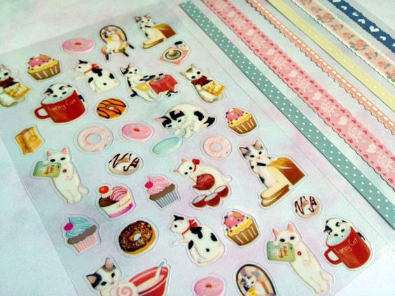 Cute cat sticker meow meow tea time dessert by StickersKingdom