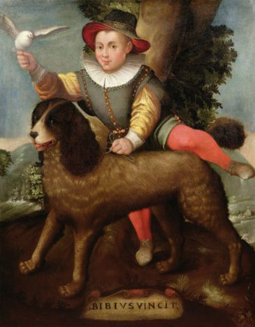 Painting, noble boy with dog. 17th century.