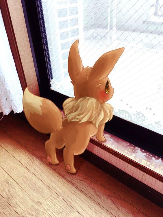 イーブイが外を眺めている姿
