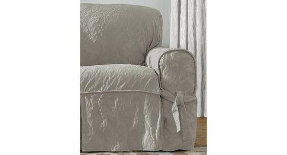 Sure Fit Matelasse Damask 1-Piece Sofa Slipcover