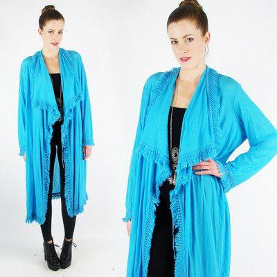 vtg 70s boho CROCHET FRINGE ultra SCARF DRAPE long maxi dress duster cape jacket $98.00