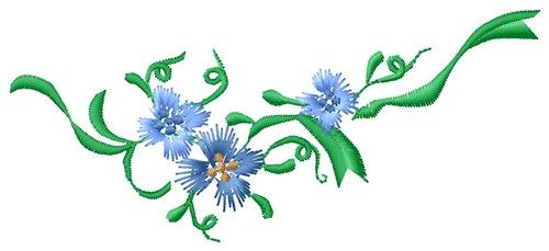 MA Designs Embroidery Design: Delicate Flowers 2.22 inches H x 5.08 inches W: