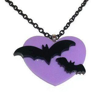 Flying Bat Necklace, Lilac Heart, Creepy Cute Pastel Goth Kawaii Pendant, Laser Cut