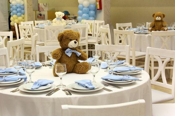 Osito de peluche como centro de mesa para baby shower, sencillo y precioso. #DecoracionBabyShower