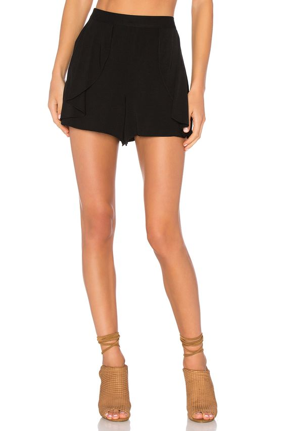 1. STATE Side Ruffle Short in Rich Black | REVOLVE