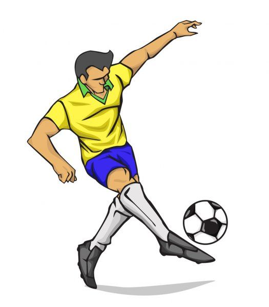 Jugador De Futbol De Ilustracion Vectorial Pateando La Bola Ilustracion De Stock Soccer Players Soccer Character