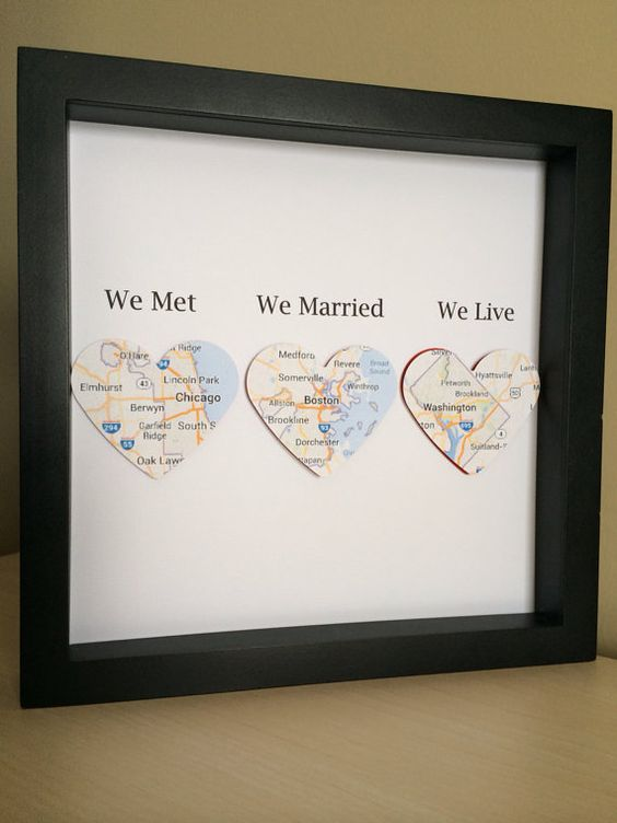 A lovely gift for a wedding or anniversary. We met, We Married, We Live This design has been lovingly made by using maps of locations. Every design
